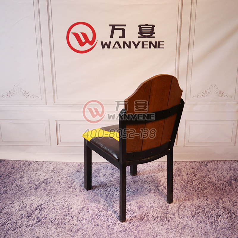 Black Hardware Chair Solid wood backrest yellow soft foam backrest seat Copper nail edging Patch back dining chair