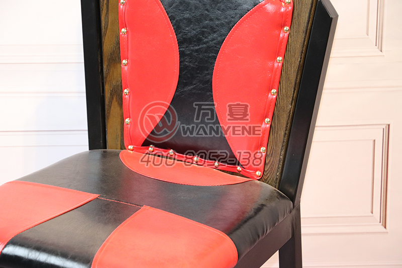 Wrought iron black chair frame red leather theme chair personalized custom copper nails edge chair