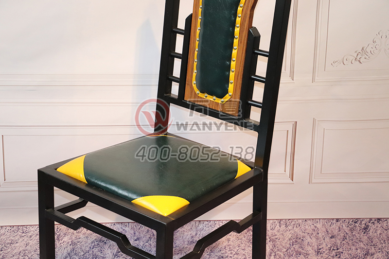 Wrought iron black hardware dining chair custom wood backrest banquet chair soft backrest dining chair antique chair