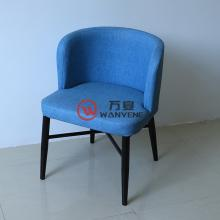 Blue round seat fabric seat cushion Black hardware chair foot Durable and stable Cafe dining chair restaurant chair