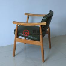 Solid wood armchair green backrest cushion ash wood restaurant presidential chair light and stable western dining chair