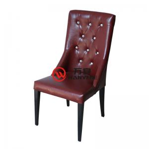 Reddish-brown Buckle backrest chair Soft leather material upholstery Metal chair foot Durable metal dining chair High-end dining chair