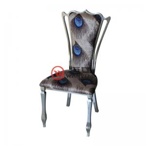 Fabric cushion backrest Bright stainless steel dining chair Peacock feather dining chair