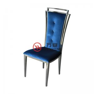 European style dining chair stainless steel dining chair high-grade blue upholstery hotel dining chair restaurant cafe chair