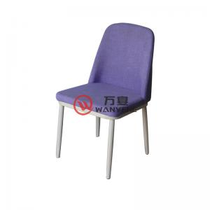 Fabric backrest wood grain veneer metal chair foot Restaurant cafe chair Lobby hotel chair Simple dining chair