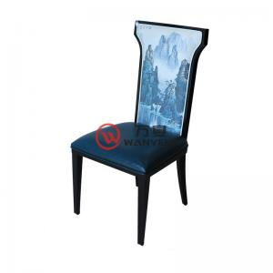 Landscape painting backrest chair Chinese-style aesthetic metal dining chair Hot pot restaurant dining chair Structure is stable and durable