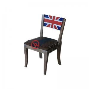 Solid wood British flag backrest chair Pull wire cushion Solid wood antique art dining chair Theme dining chair