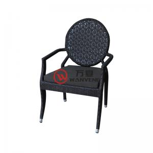 Round imitation wicker chair with armrest back out...