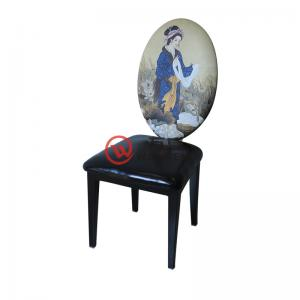 Chinese noble palace dining chair black leather seat cushion oval personality spray back