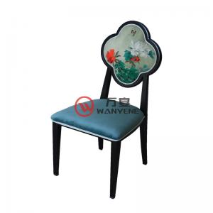 Antique style chair plum flower backrest Chinese style black hardware chair frame durable and stable structure