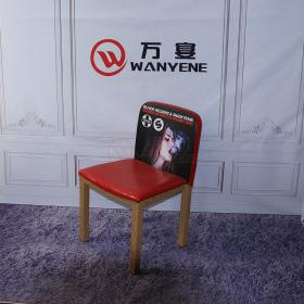 Special hardware dining chair Features spray painting back Red soft seat cushion Imitation wood grain metal chair High strength thick heavy