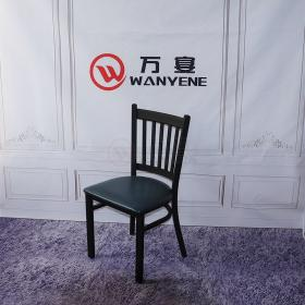 Metal Hardware Dining Chair Restaurant Chair Catering Leather Seat Cushion Black Scrubbing Metal Dining chair Thickening Dining Chair