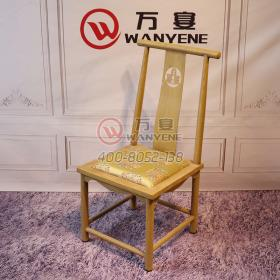 Golden Iron Dining Chair Soft Wrapped Seating Wood Grain veneer Finishing Square Ming and Qing Antique Chair