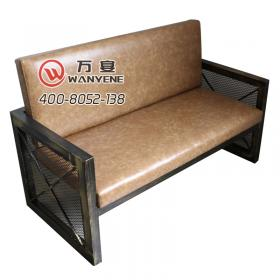 Wrought iron element booth sofa Square iron mesh h...