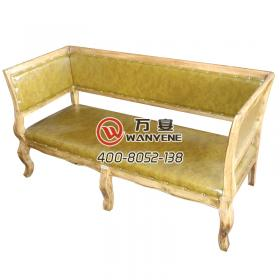 Antique gold solid wood leather sofa soft bag backrest three-person booth Southeast Asia style sofa