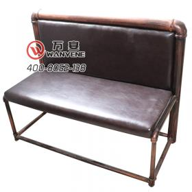 Iron industry theme wind booth sofa bronze gold ir...