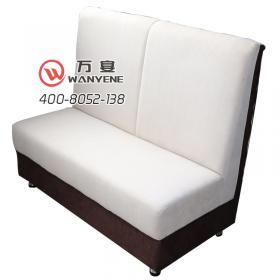 White fabric High-density sponge booth sofa Brown back Restaurant cafe sofa Double booth sofa