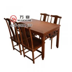 New Chinese style solid wood hot pot dining table Solid wood four-person vintage carved dining table Solid wood square table
