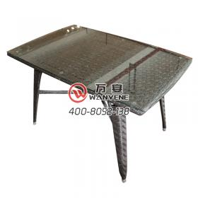 Square rattan table Desktop tempered glass Hardware frame Outdoor dining table