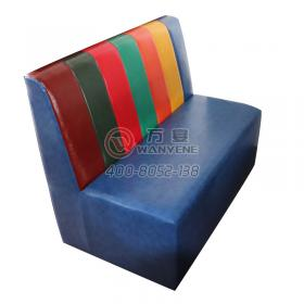 Rainbow restaurant Soft Backrest Restaurant Sofa Blue Sponge Seat Metal Frame Seat Sofa