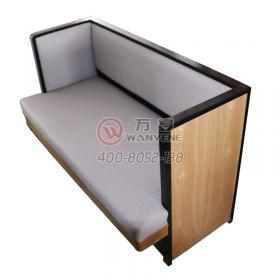 Black metal iron frame booth sofa Solid wood side double booth sofa gray soft cushion restaurant sofa