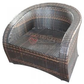 Rattan chair woven lounge chair Outdoor patio waterproof dining chair Villa rattan woven lounge sofa Hardware frame leisure sofa