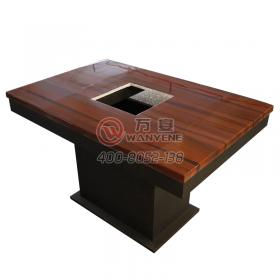 Reddish brown hot pot table Marble table top with square induction cooker Hardware matte table base Hardware square foot table