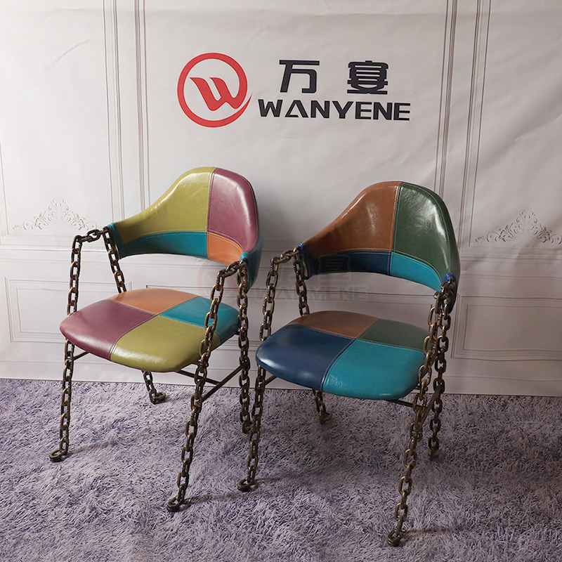 Iron art theme style chair lock chain features chair music theme dining chair thick heavy chair