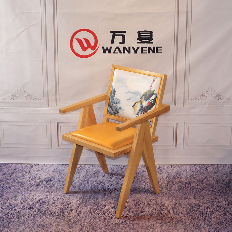 Original color solid wood structure chair Leather seat cushion backrest Solid wood dining chair Restaurant cafe dining chair