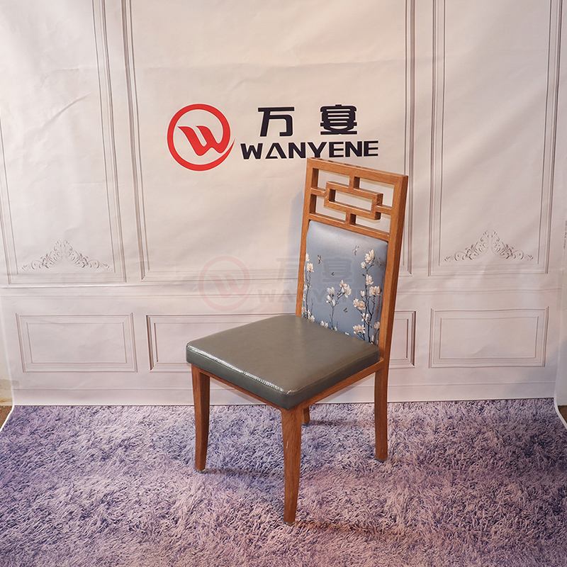 Antique Chinese style theme dining chair Ancient court dining chair Iron dining chair Metal wood grain dining chair