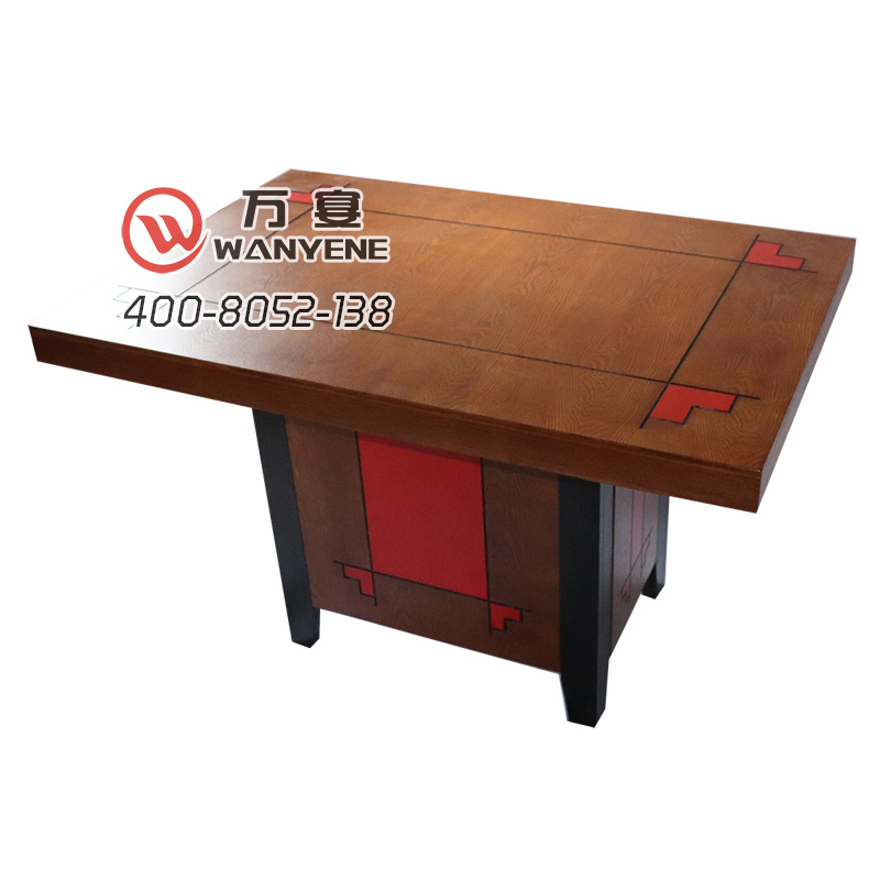 Solid wood hotpot table red auspicious cloud carved square solid wood tabletop solid wood square foot black side foot barrel dining table