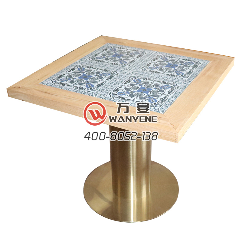 Southeast Asian style dining table Ceramic thick solid wood edge Brass stainless steel round base restaurant square dining table
