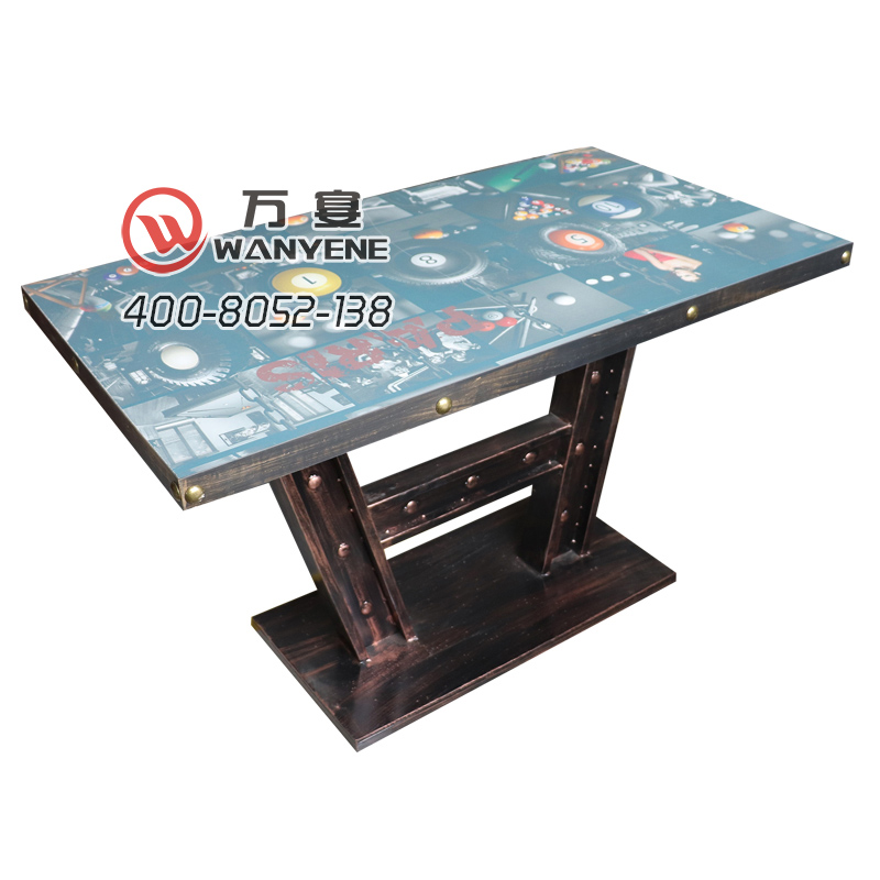 Industrial style dining table iron art brass nails edging custom-made dining table tower base dining table individual table