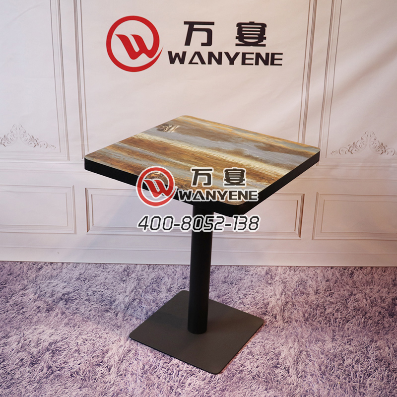 Square coffee table black border custom pattern black matte hardware feet tea shop restaurant table --The Product Image' style=