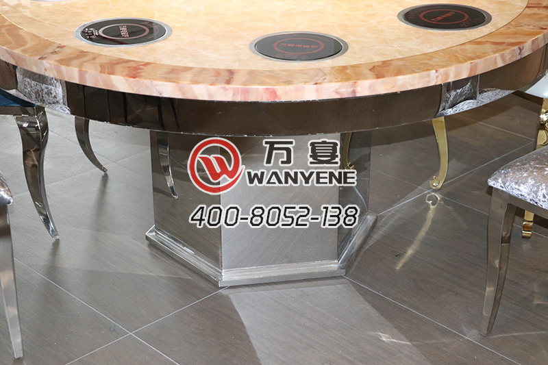 Mirror stainless steel Hexagonal bucket base Marble top hot pot table Shabu Shabu hot pot table Golden side meal round hot pot table for eight people
