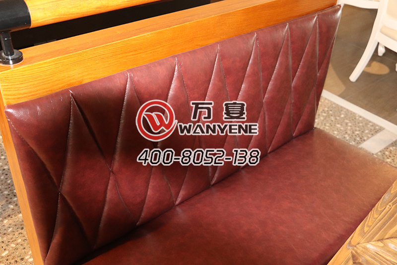 Yellow solid wood sofa Leather back seat back Round tube sofa bag backrest Antique personality booth sofa Square booth seat foot barrel