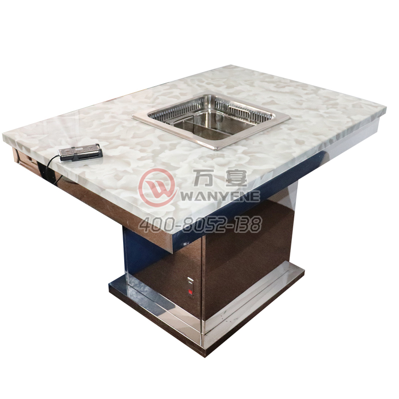 White marble lifting hot pot one desk light stainless steel square base with linear pressure switch