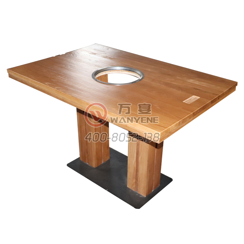 Solid wood four-person hot pot table Middle with induction cooker dining table Solid wood column dining table Cast iron hardware dining table
