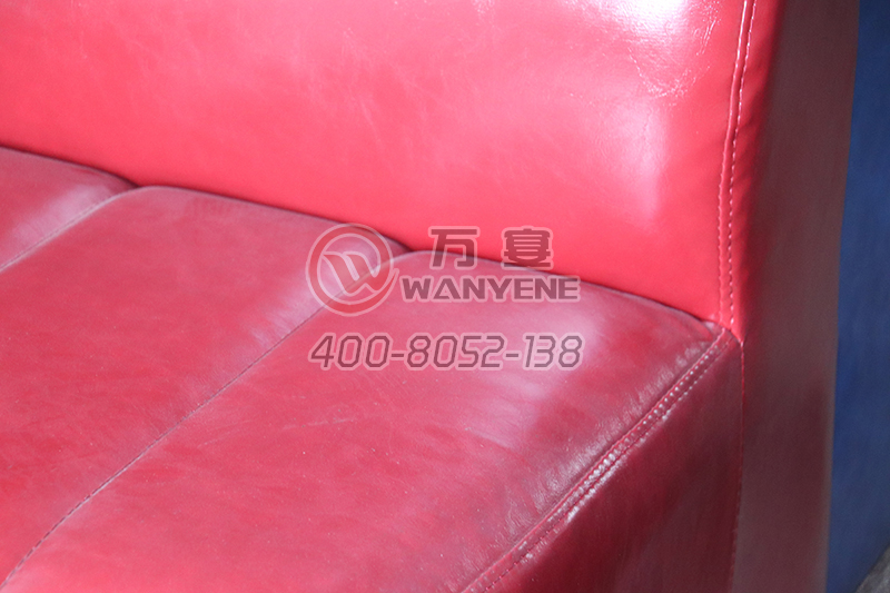Restaurant red card seat sofa round comfortable backrest bright leather sofa