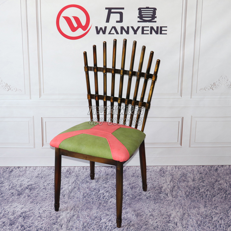 Peacock Chair Iron Pipe Painting Throne Hot pot shop chair leather seat cushion Ultra-modern dining chair