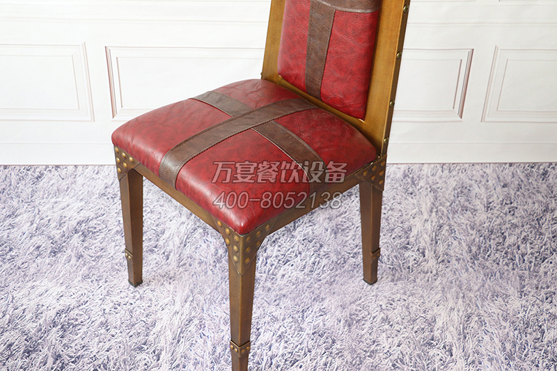 Hardware frame heavy brass nailing red seat cushions chair theme dining chair