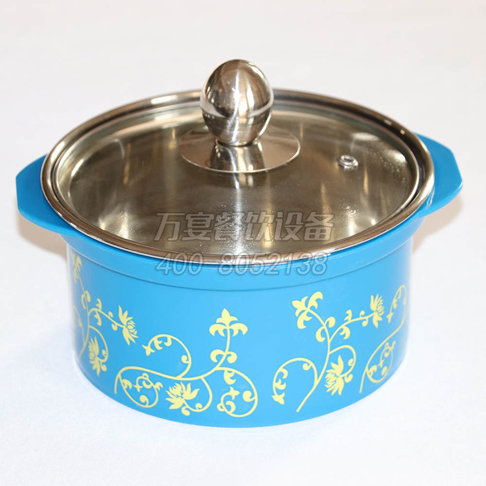 Blue heat-resistant pot with yellow pattern Anti-hot pot induction cooker with protective shell stainless steel pot