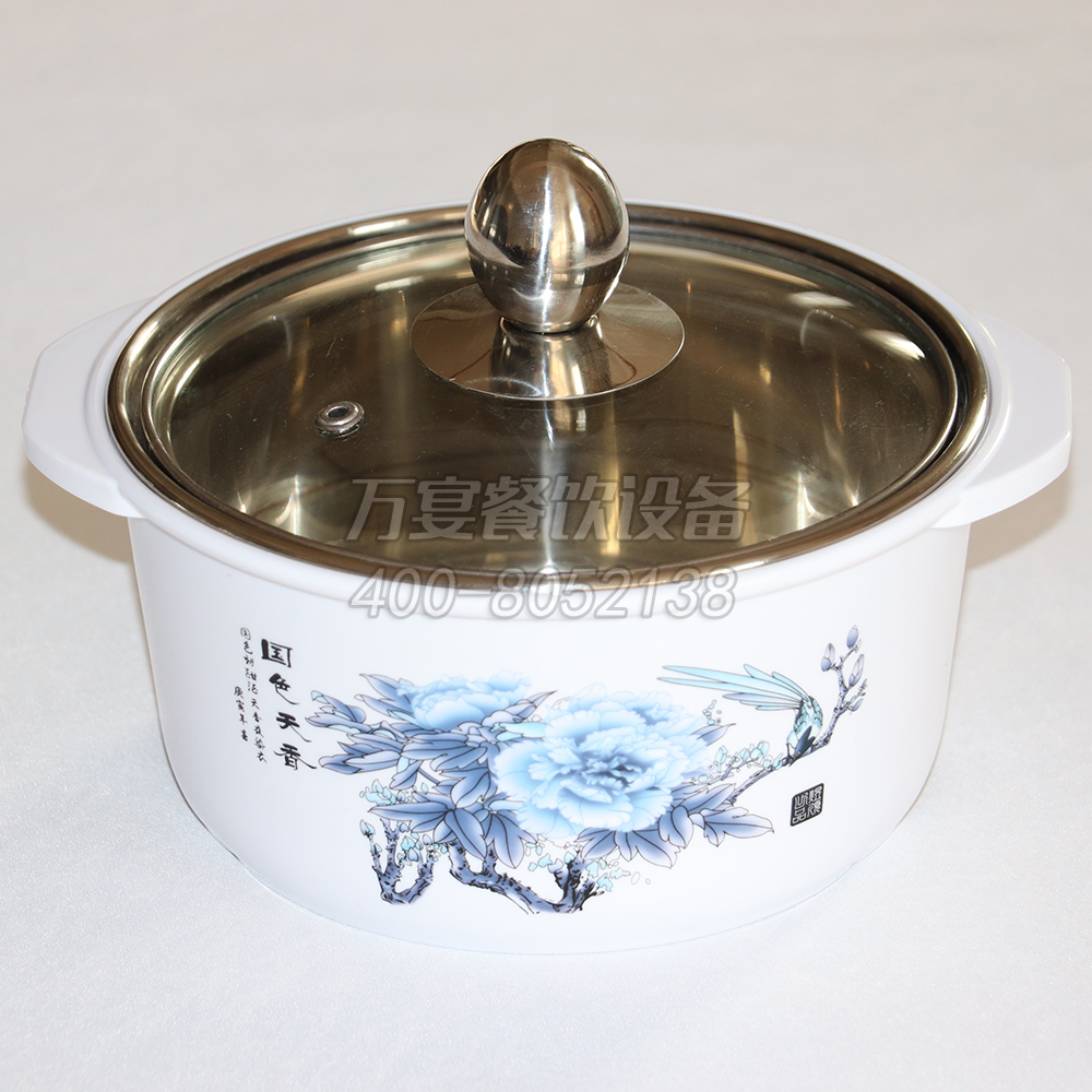 White landscape ink painting stainless steel pot Conventional anti-hot pot Resistant to fall and shaving Hot pot table dedicated shabu-shabu pot