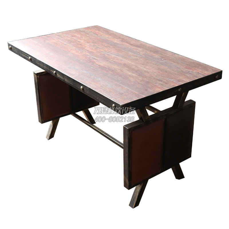 Antique hardware hot pot table Fire board desktop Hardware nails edge iron Dining table Industrial style dining table