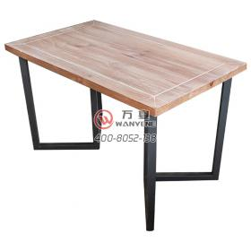 Simple solid wood thick desktop table Black frosted hardware simple hardware table legs Simple industrial style dining table