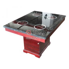 Four-person marble characteristic pattern Red wooden square barrel base induction cooker hot pot table