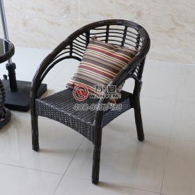 Black seat armchair Outdoor wicker chair Imitation rattan Hardware frame outdoor lounge chair