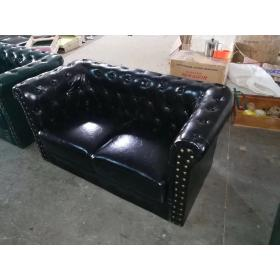 Black brown leather chesterfield sofa 2 seater sofa restaurant lobby sofa