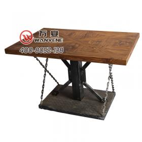 Square industrial iron art solid wood desktop table chain style table desktop hardware industrial iron art base
