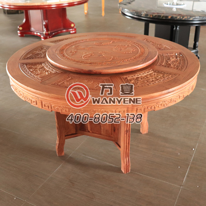 Solid rosewood antique hot pot table Solid wood carving Hot pot table with turntable top, Round solid wood dining table --The Product Image' style=